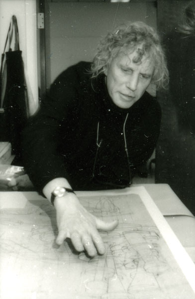 Artist Dennis Oppenheim works on his print at the Normal Editions Workshop in 1992.